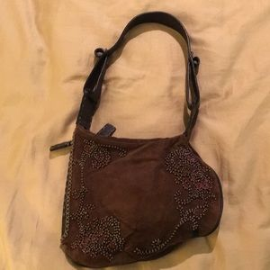 Fendi Selleria Oyster suede embroidered purse bag
